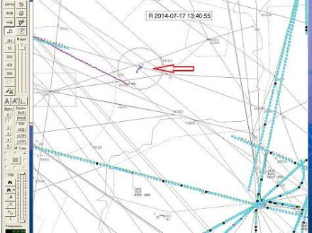 The reconstruction of the data from the radar of the Rostov air traffic control centre is a picture of events from a moment of the accident plus another 20 after it. The labels in the form of the letter 'Т' designate the military aircraft. A line of movement of flight MH17 displayed in lilac colour.